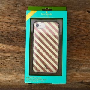 Kate Spade iphone cover 8/7/6s/6 Rose gold stripes